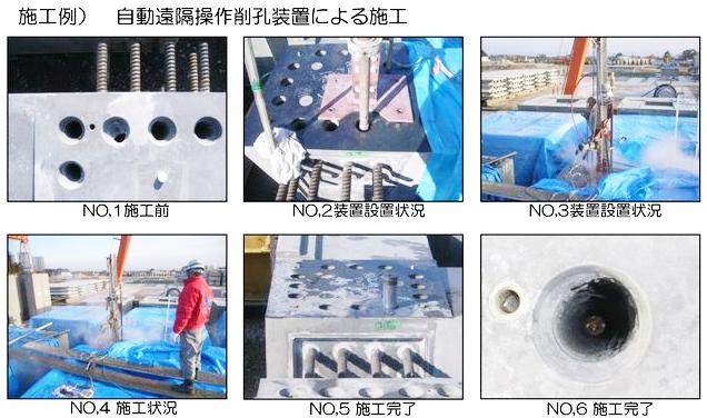 自動遠隔操作削孔装置による施工・施工前・装置設置状況・施工状況・施工完了までの写真です。