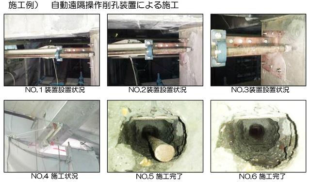 自動遠隔操作削孔装置による施工写真です。